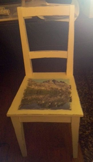 Old Thrift Store Wooden chair given new life with photo transfer of ...