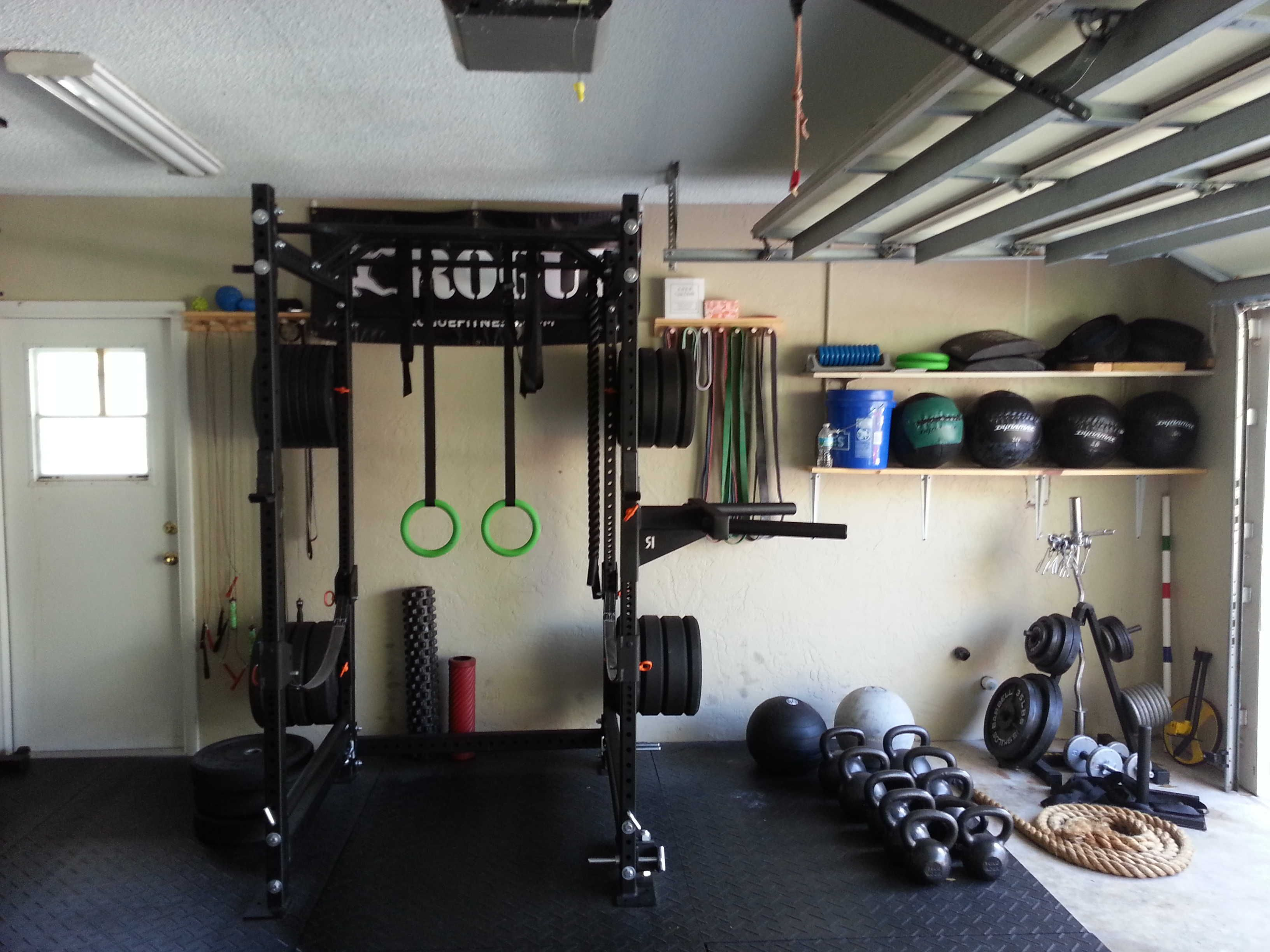 Great utilization of space in this homemade garage gym complete