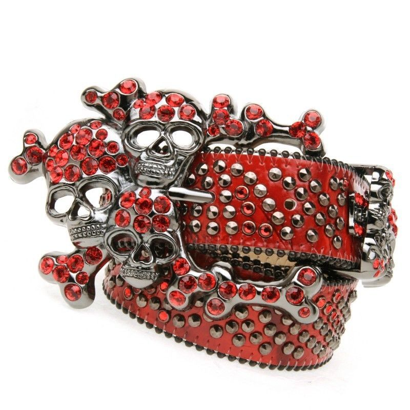 829376ebcbcf B.B.Simon Red Leather Skull Swarovski Crystals Belt 320-D22-LT.SIAM  bbsimon