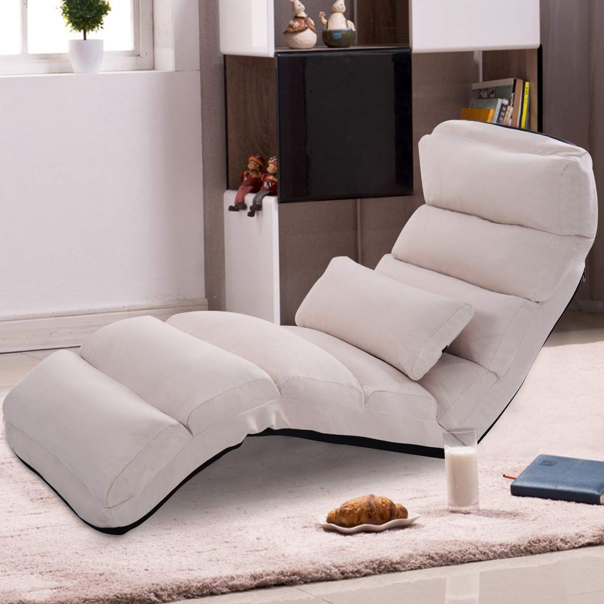 Giantex Folding Lazy Sofa Chair Stylish Sofa Couch Beds Lounge Chair W Pillow Beige Chaise Lounge Stylish Sofa Stylish Chairs