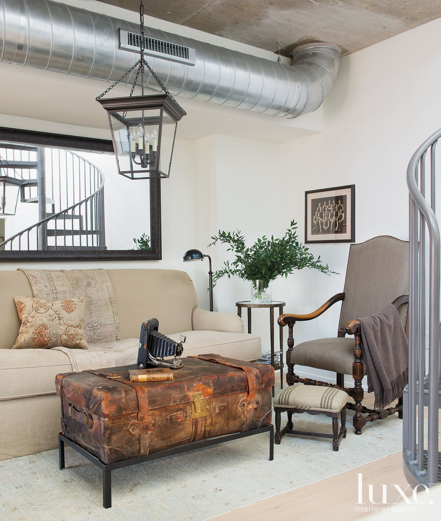 Modern Interior Design Magazine: Neutral Eclectic Living Room With Industrial Ceiling