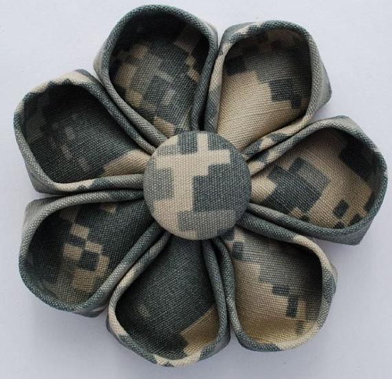 USMC Desert Digital Camo Fabric Flower by