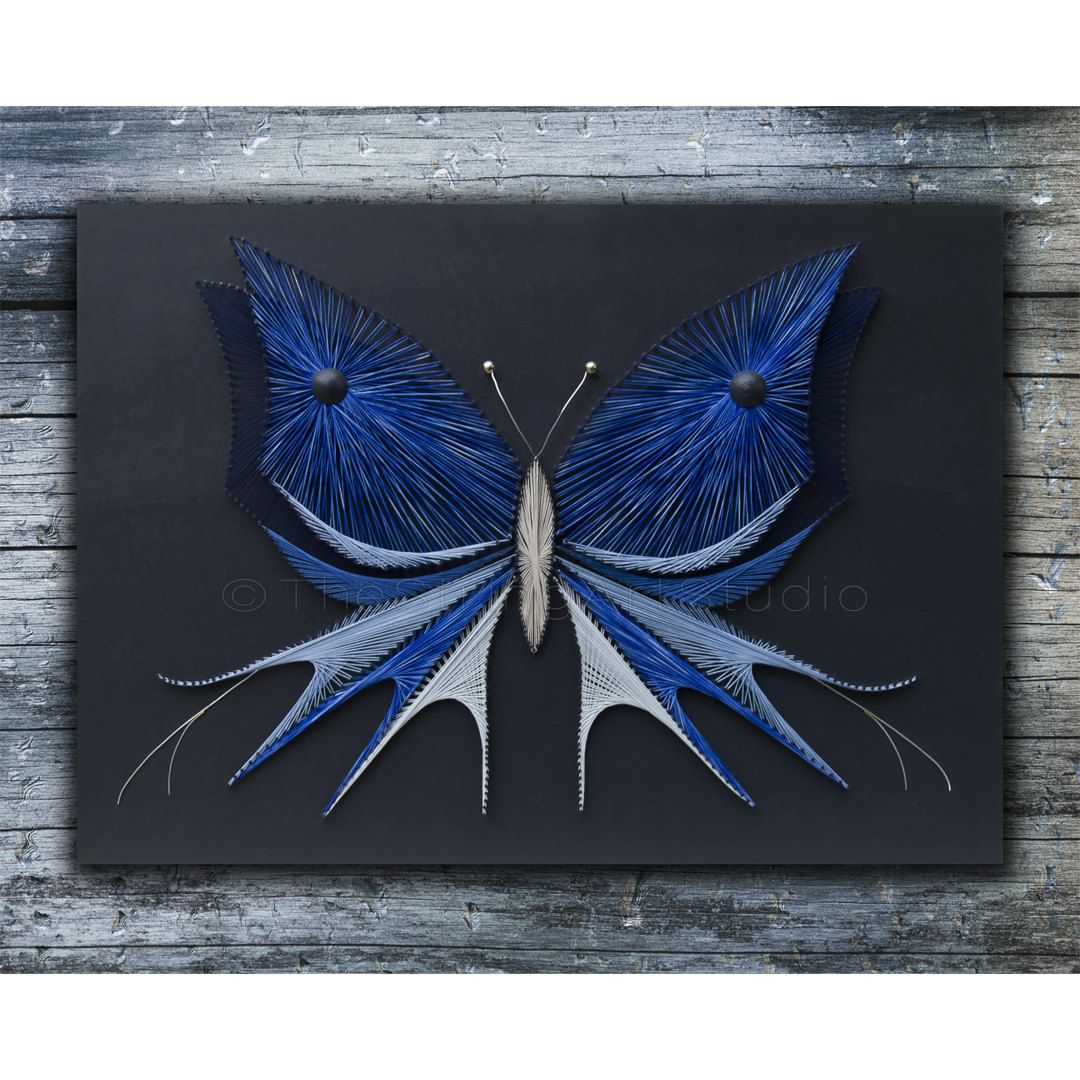 String art butterfly | Blue butterfly | Nails and strings art ...