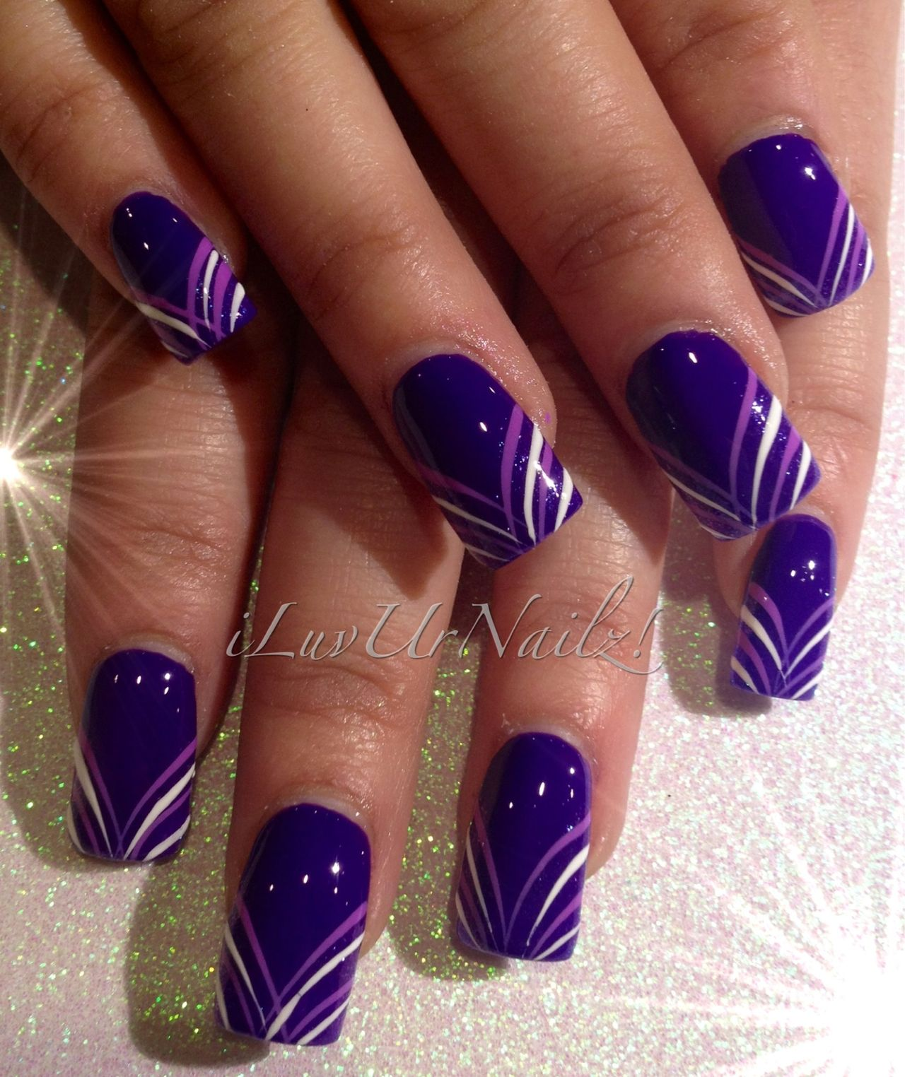 Purple Nails By Iluvurnailz With Images Purple Nail Art
