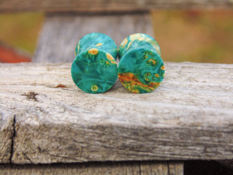 28mm Handmade Maple Burl and Resin Ear Plug Gauged Jewelry
