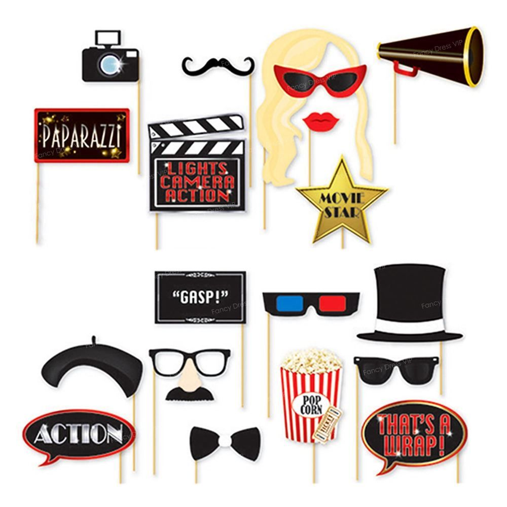 18x Oscars Photo Booth Selfie Props Movie Hollywood Premiere ... for Camera Equipment Clipart  143gtk