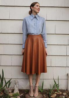 Sleeveless white button up & black leather skirt | Flickr - Photo ...
