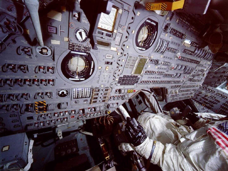 Apollo command module interior cockpit