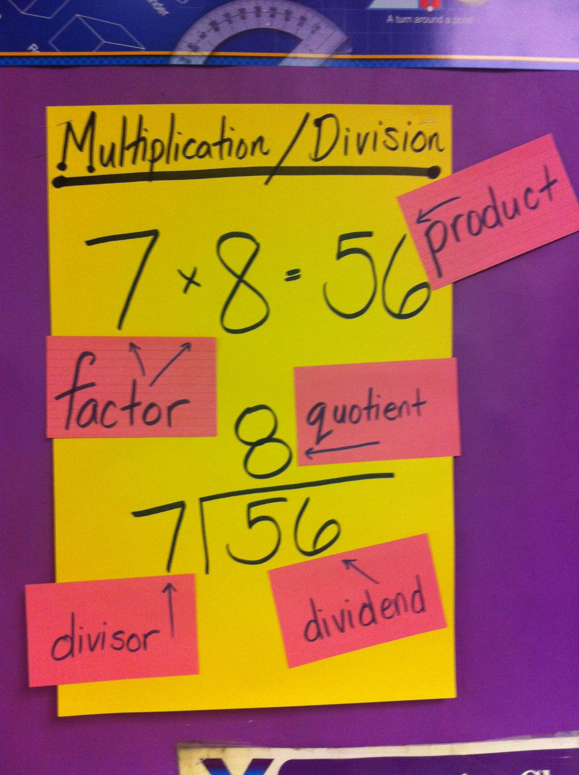 Parts Of Multiplication Division Problems Just A Simple