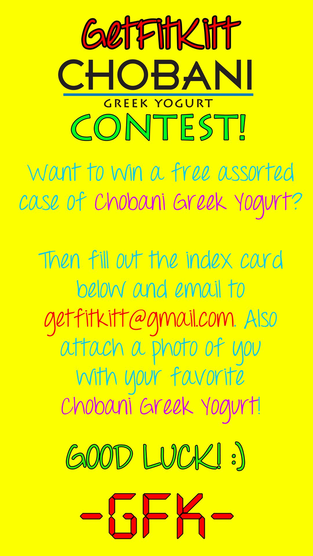 ONE NAME WILL BE DRAWN! CONTEST ENDS JULY 15TH!!!... | GFK