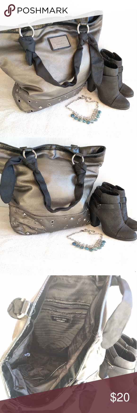 Hcl handcrafted leather goods -  Sale Simply Vera Vera Wang Large Tote Beautiful Gunmetal Faux Leather With Studs And