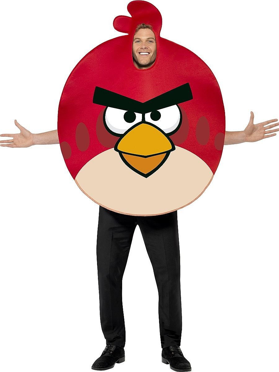 LICENSED ADULT MENS ANGRY BIRDS RED BIRD MASK FANCY DRESS HALLOWEEN COSTUME