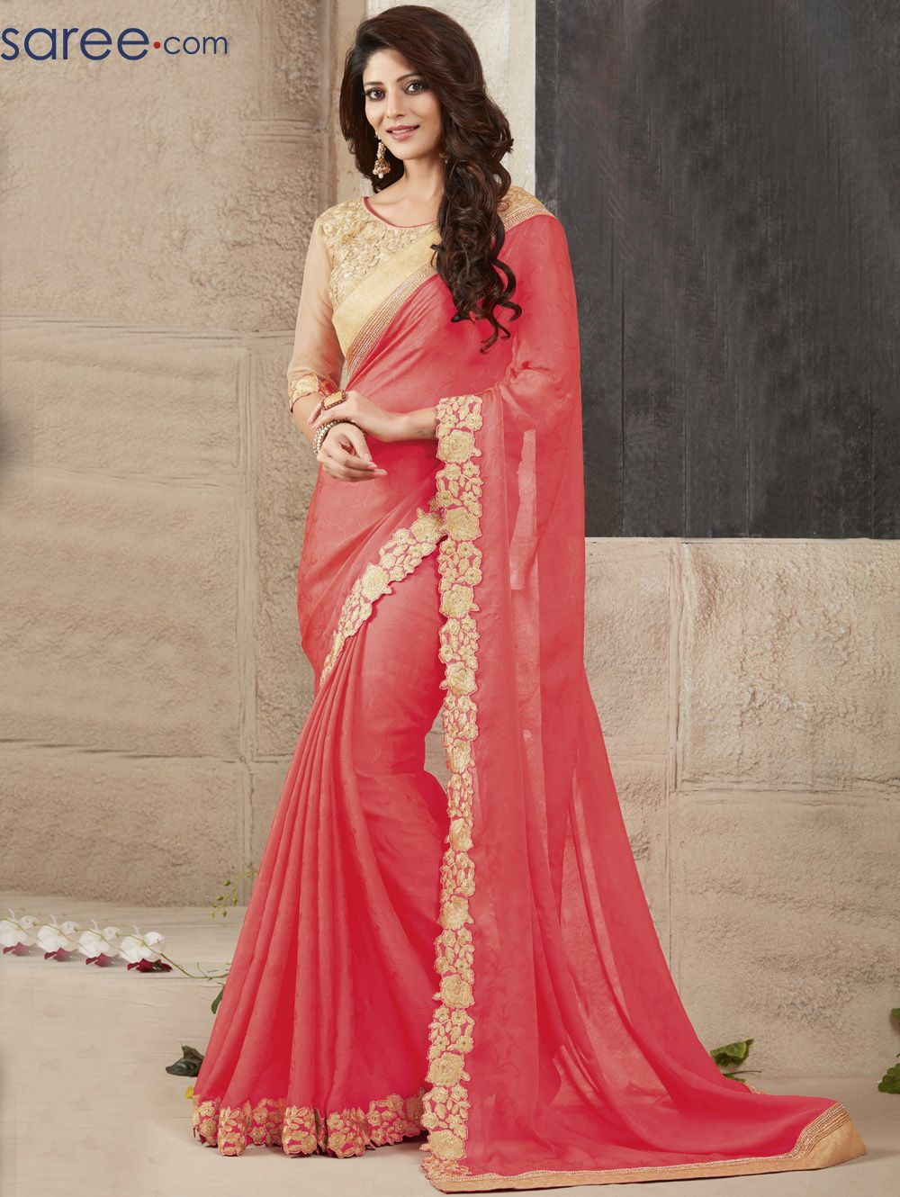 6a058aac7c PINK GEORGETTE SAREE WITH EMBROIDERY WORK. Best Traditional Indian clothing  store from the house of Asopalav. Choose from our largest collection of the  ...