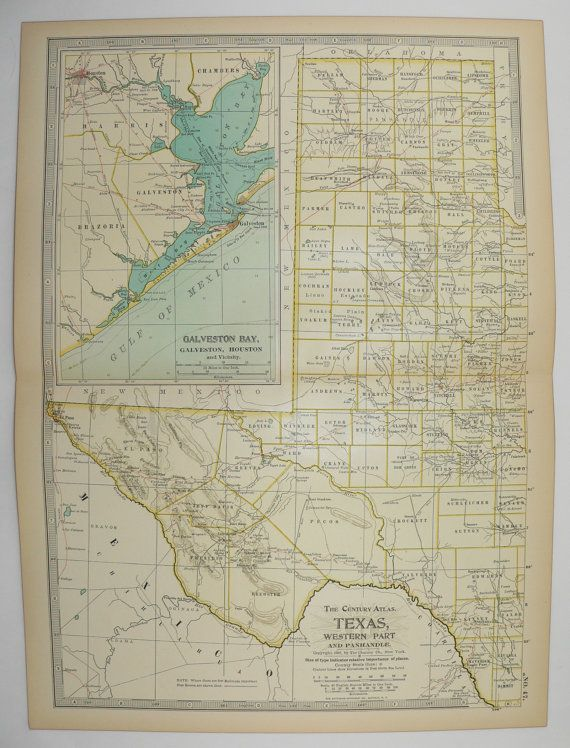 Vintage Texas Map 1901 Antique Map of West Texas, Panhandle, Texas ...