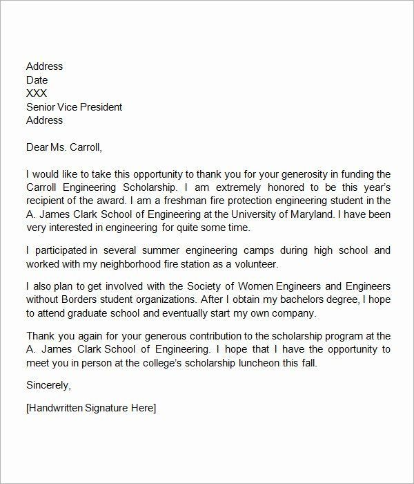 Scholarship Thank You Letter Examples Beautiful Free 13