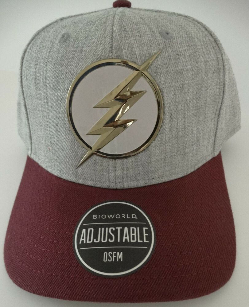 728b2375019ce The Flash Barry Allen Chrome Weld DC Comics Snap Back Curved Bill Hat Nwt   DCComics