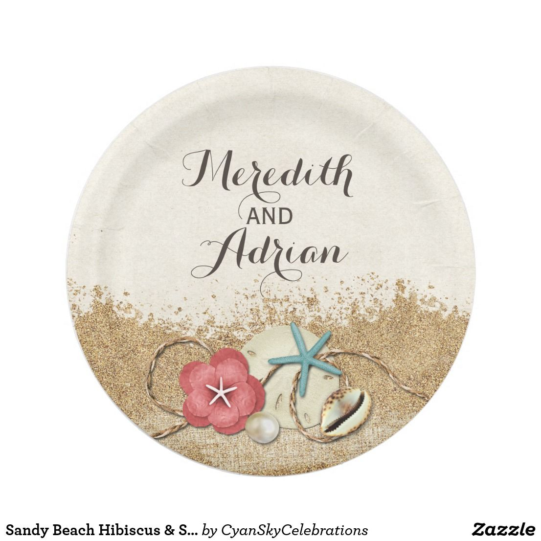 Sandy Beach Hibiscus \u0026 Shells Wedding Personalized Paper Plate by CyanSkyCelebrations on Zazzle  sc 1 st  Pinterest : beach paper plates - pezcame.com