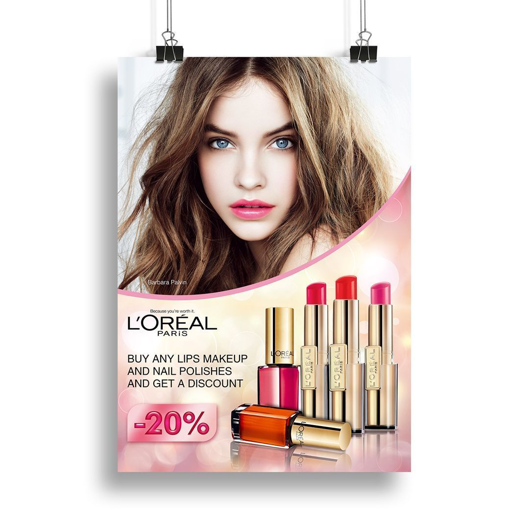 Poster Design For L Oreal Cosmetic Products For A Retail Store Design By Ann Ann Cosmetic Design Loreal Poster Products Retail Store 2020