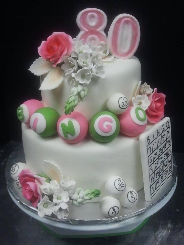 80th Birthday for Bingo Lover Gumpaste flowers 80 bingo balls