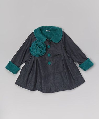 Another great find on #zulily! Dark Denim & Teal Swing Coat - Toddler & Girls #zulilyfinds
