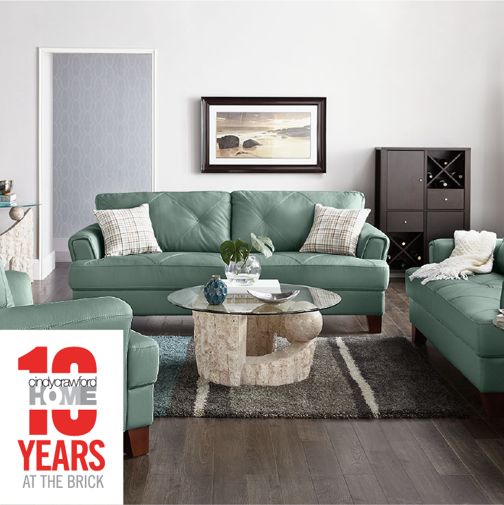 We Re Celebrating 10 Years Of Cindy Crawford Home At The Brick Timeless Style Clean Lines And Beautiful Leather Set The Vita Col Genuine Leather Sofa