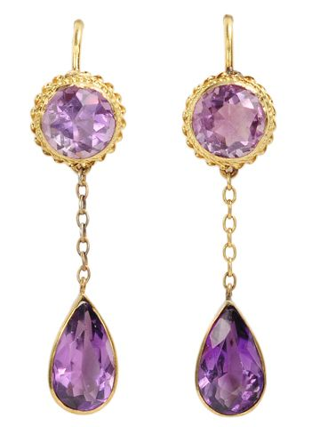 Amethyst and gold earrings.