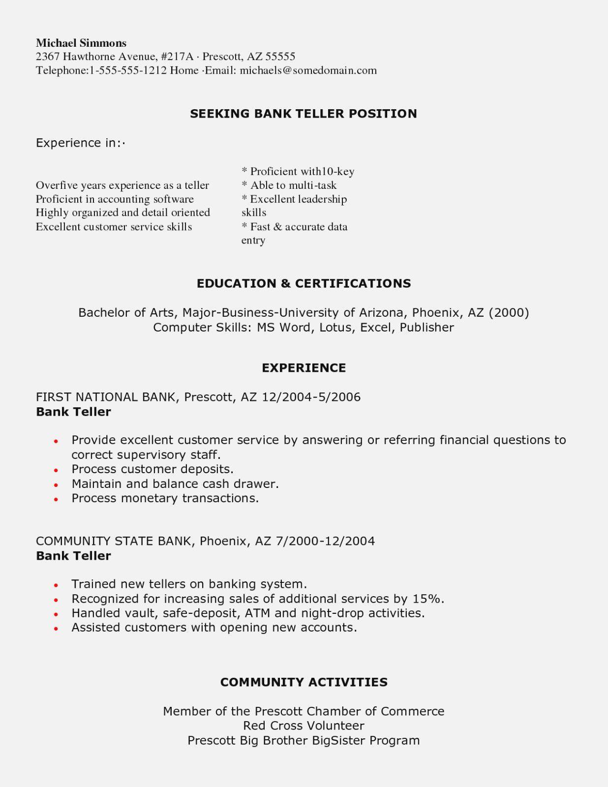 Bank Teller Resume Objective Bank Teller Resume Sample