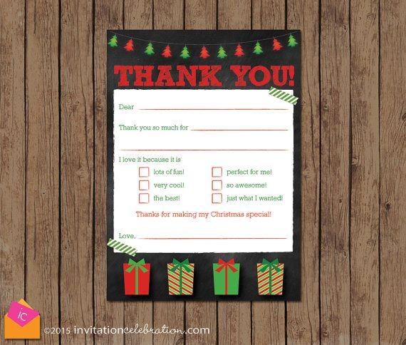 Kids Christmas Thank You Cards Printable By Invitationceleb