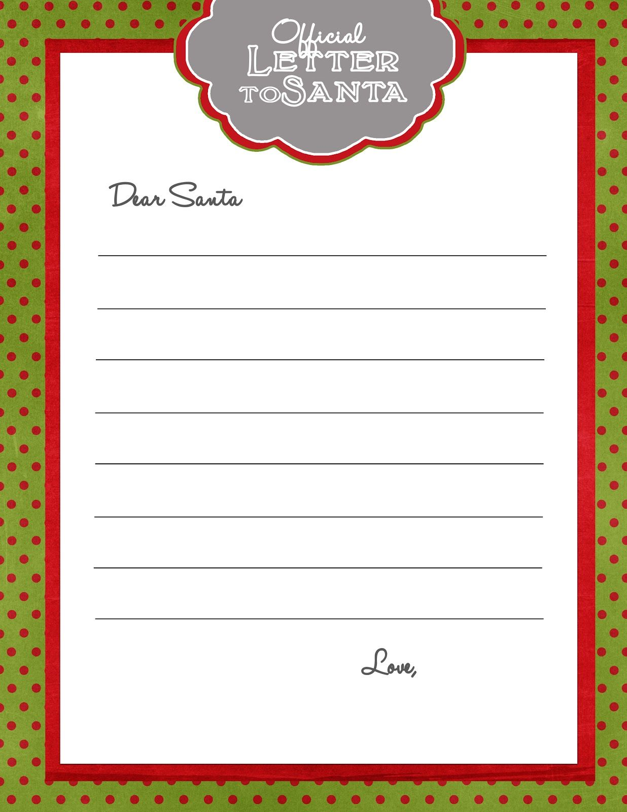 281 Fourth Street Free Printable Letter To Santa