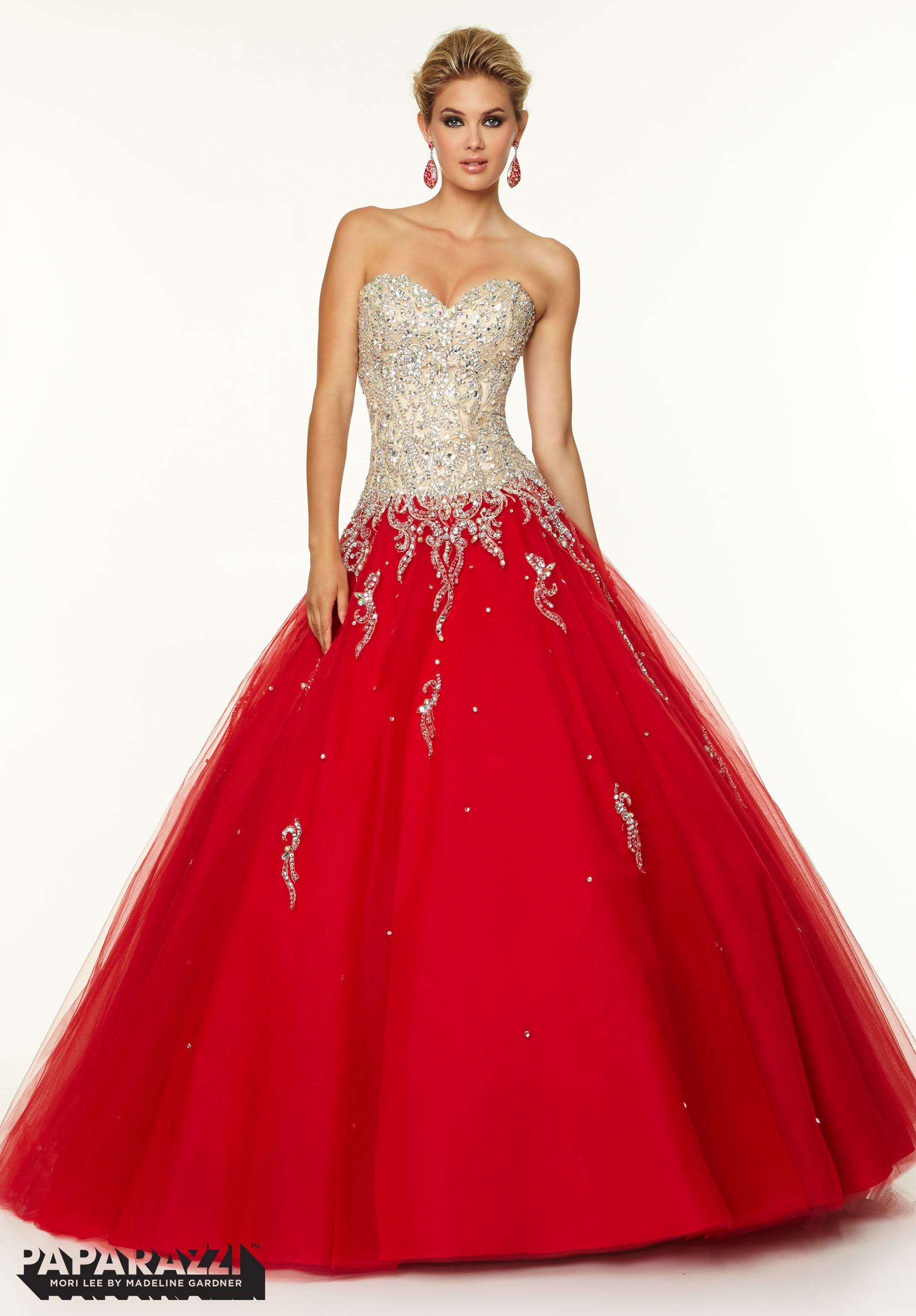 Mori lee red lace prom dress