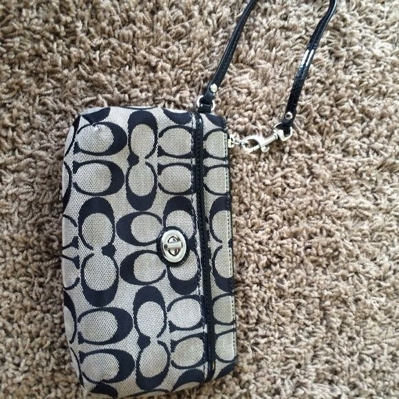 Black coach wallet Second picture is so show size. No trades Coach Bags Clutches & Wristlets