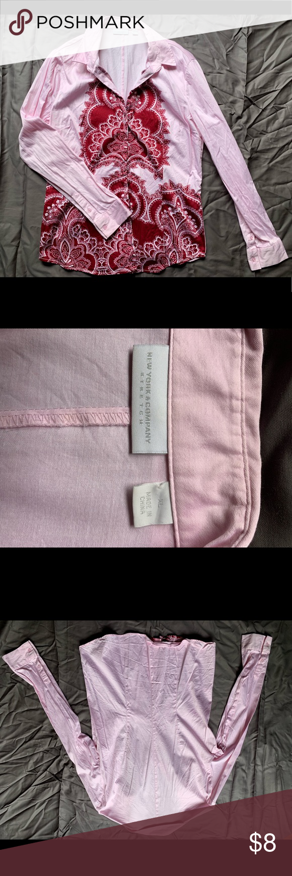 128a3ed83c34d0 EUC NY&C pink and red button down shirt EUC NY&C pink and red button down  shirt