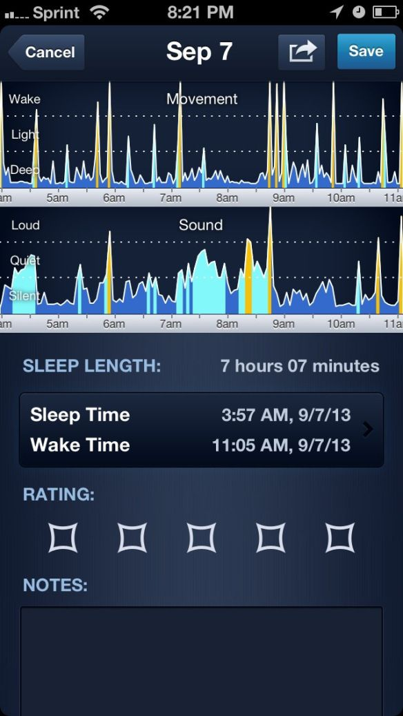 App Review Sleepbot sleep tracker, motion and sound