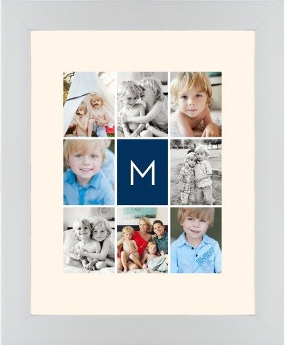 Gallery Monogram Framed Print, White, Contemporary, None, Cream, Single piece, 11 x 14 inches, Blue