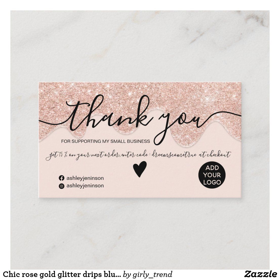Chic Rose Gold Glitter Drips Blush Order Thank You Business Card Zazzle Com In 2021 Minimalist Business Cards Rose Gold Glitter Pink Business Card