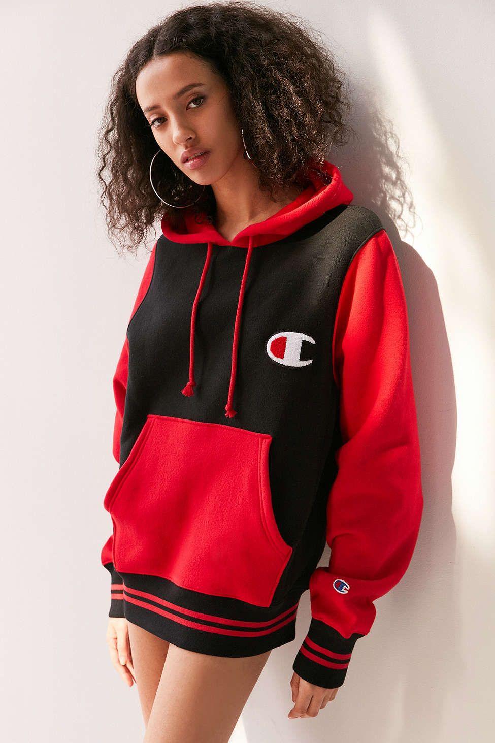 Champion Mini Logo Colorblock Hoodie Sweatshirt Champion Clothing Hoodies Women Hoodies Sweatshirts [ 1463 x 975 Pixel ]