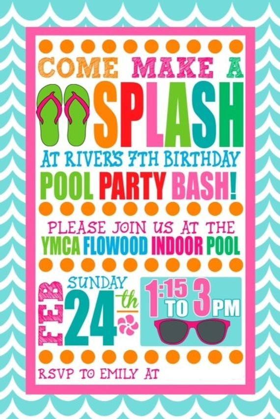 Custom Girl Swim Party Invitation