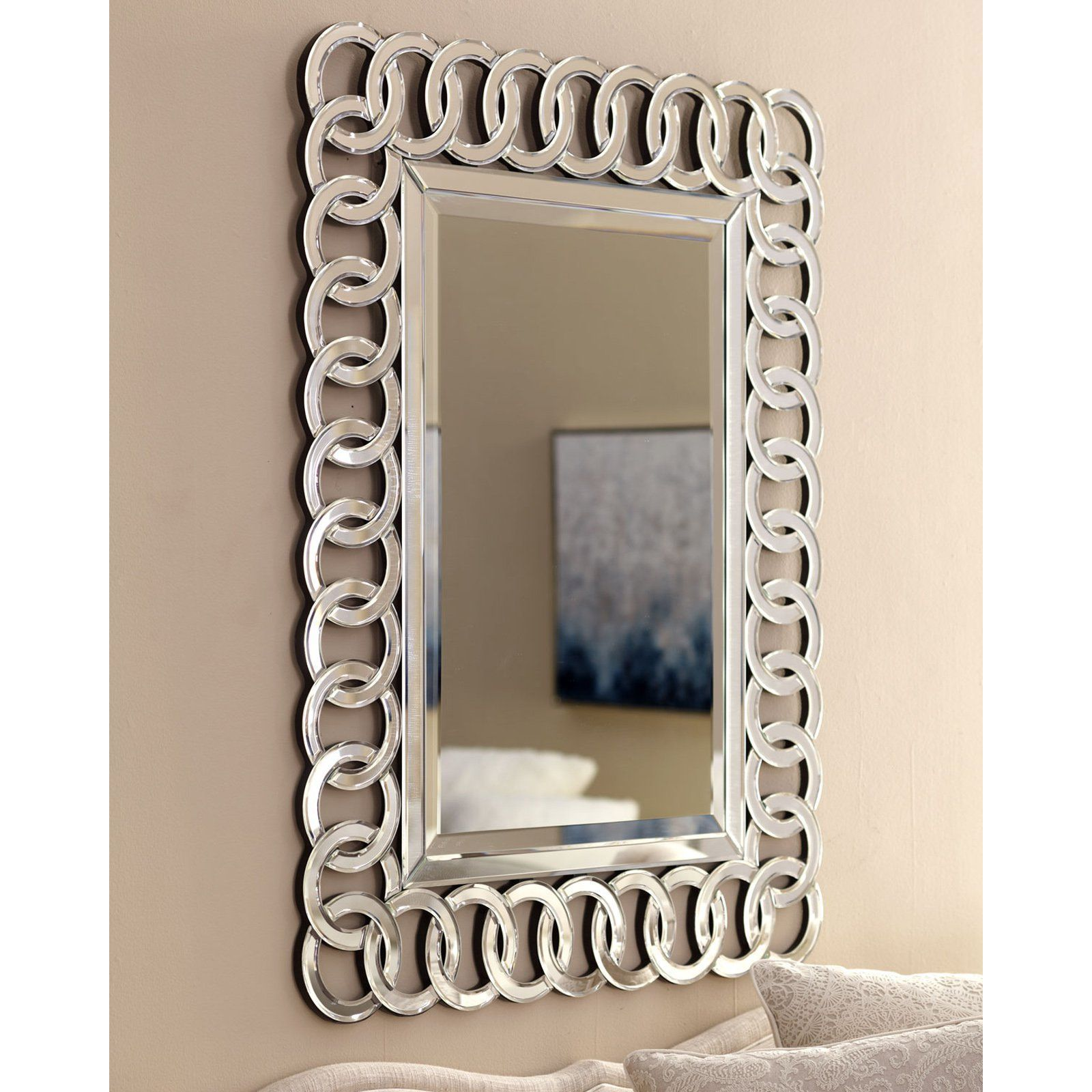 afina modern luxe circles wall mirror 30w x 42h in on mirror wall id=98056