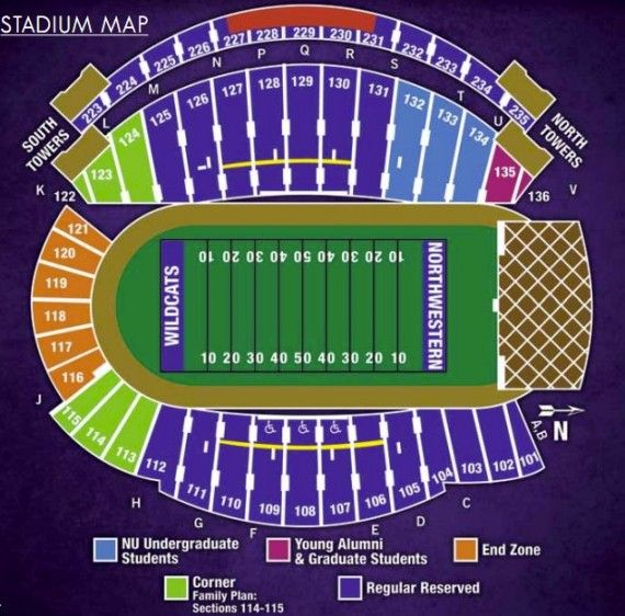 Northwestern University Football Stadium Seating Chart Google Search Football Stadiums Illinois Football Northwestern
