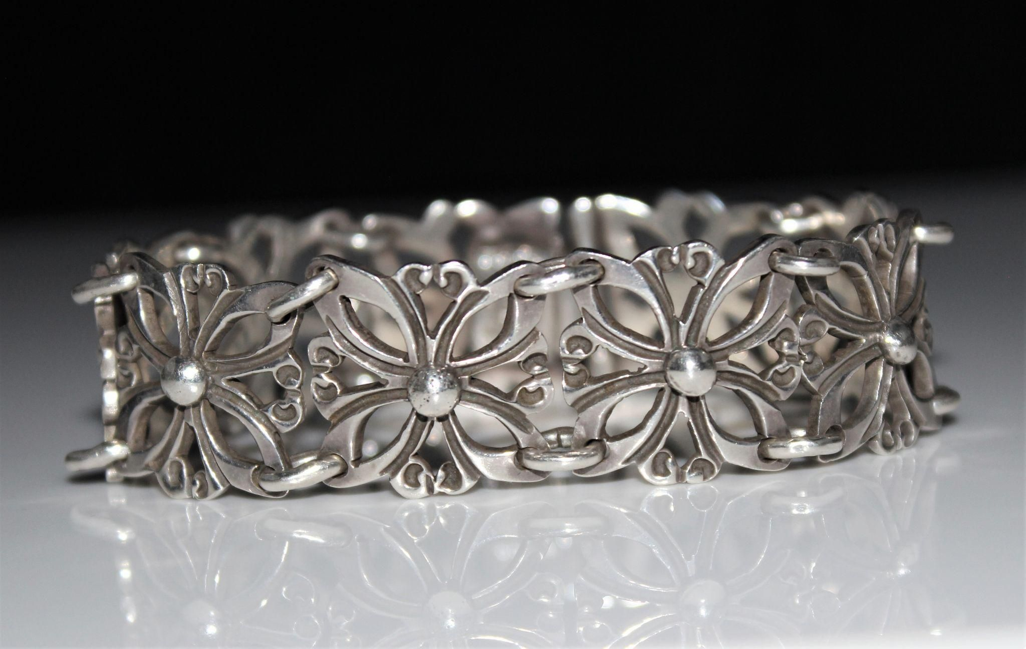 Vintage sterling silver taxco mexico signed open work panel bracelet