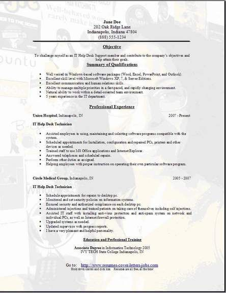 Resume Helper -    wwwjobresumewebsite resume-helper-10 - help desk technician resume