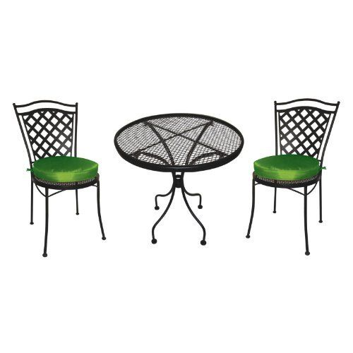 Charleston With Green Cushions Wrought Iron Bistro Set By Dc