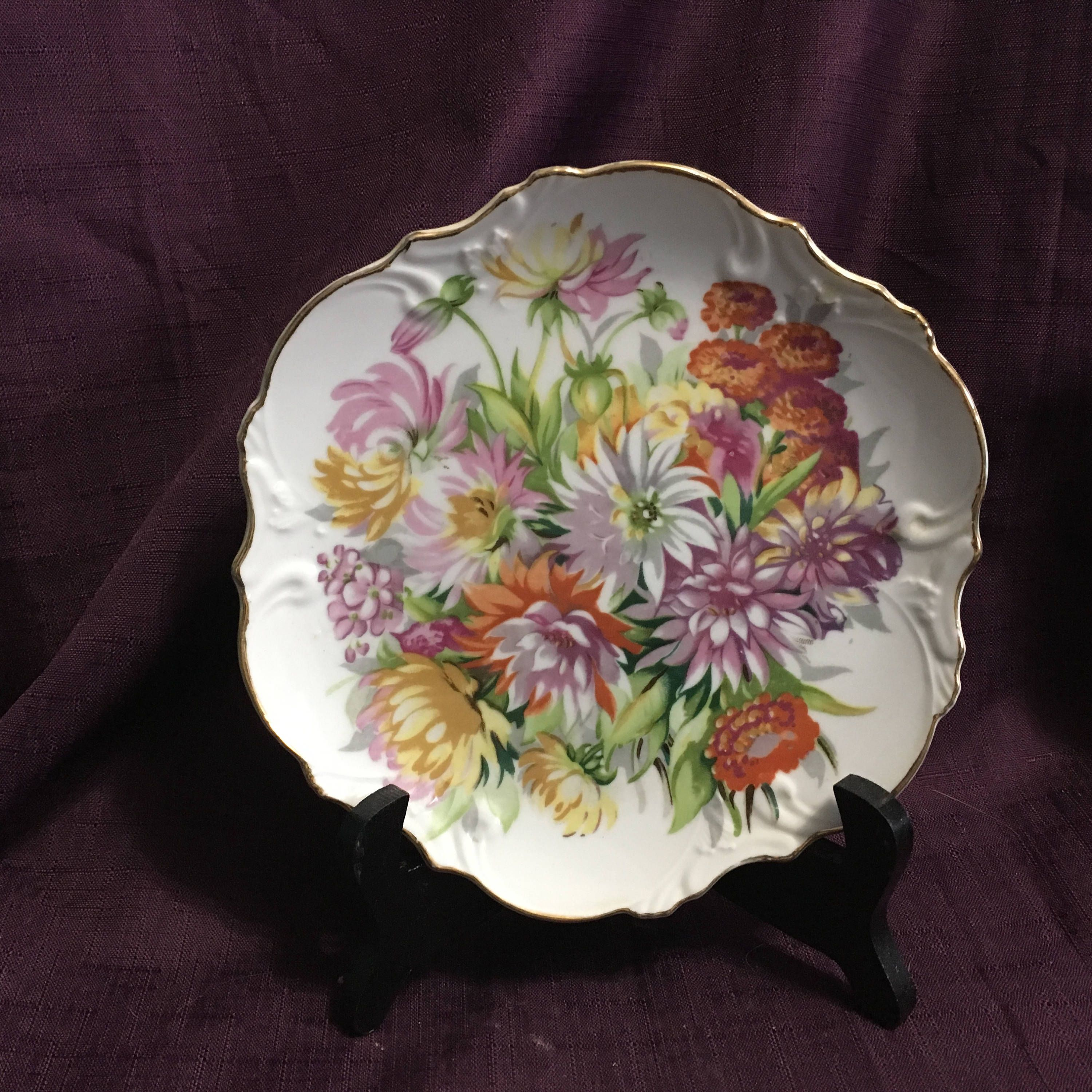 vintage japanese plate orange yellow white purple floral on hole in the wall cap oriental id=13761