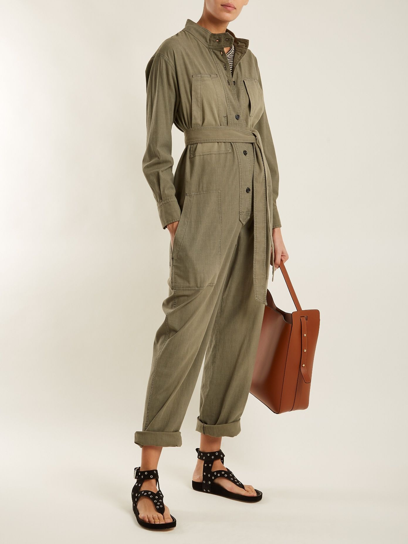 e6648b4cd9f1 Click here to buy Isabel Marant Étoile Lucia tie-waist cotton-blend  jumpsuit at MATCHESFASHION.COM