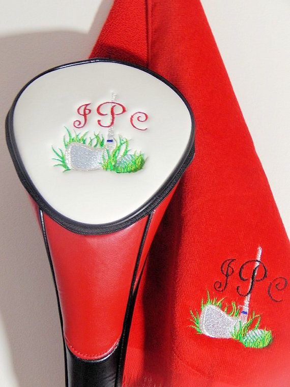 Personalized Golf Head Cover ( Red and White) and Premium Terry Velour  Grommeted Towel by