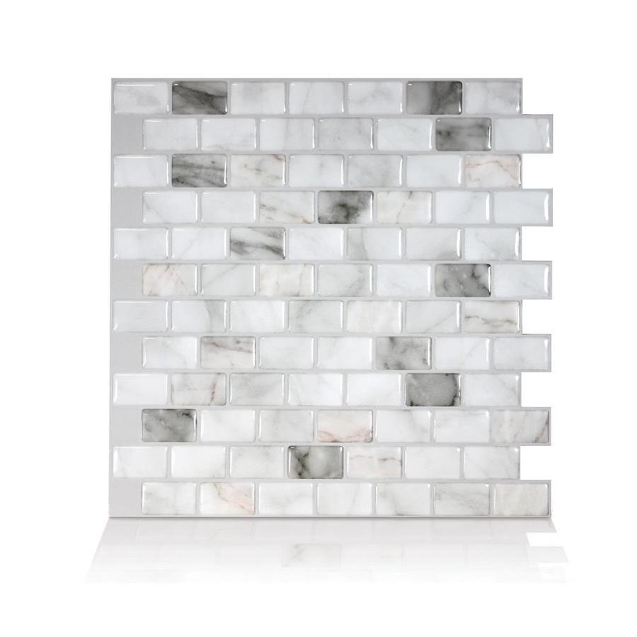 Smart Tiles 4 Piece 10 In X 10 In White Marble Gray Vinyl Tile Lowes Com In 2020 Smart Tiles Stick On Tiles Vinyl Tile