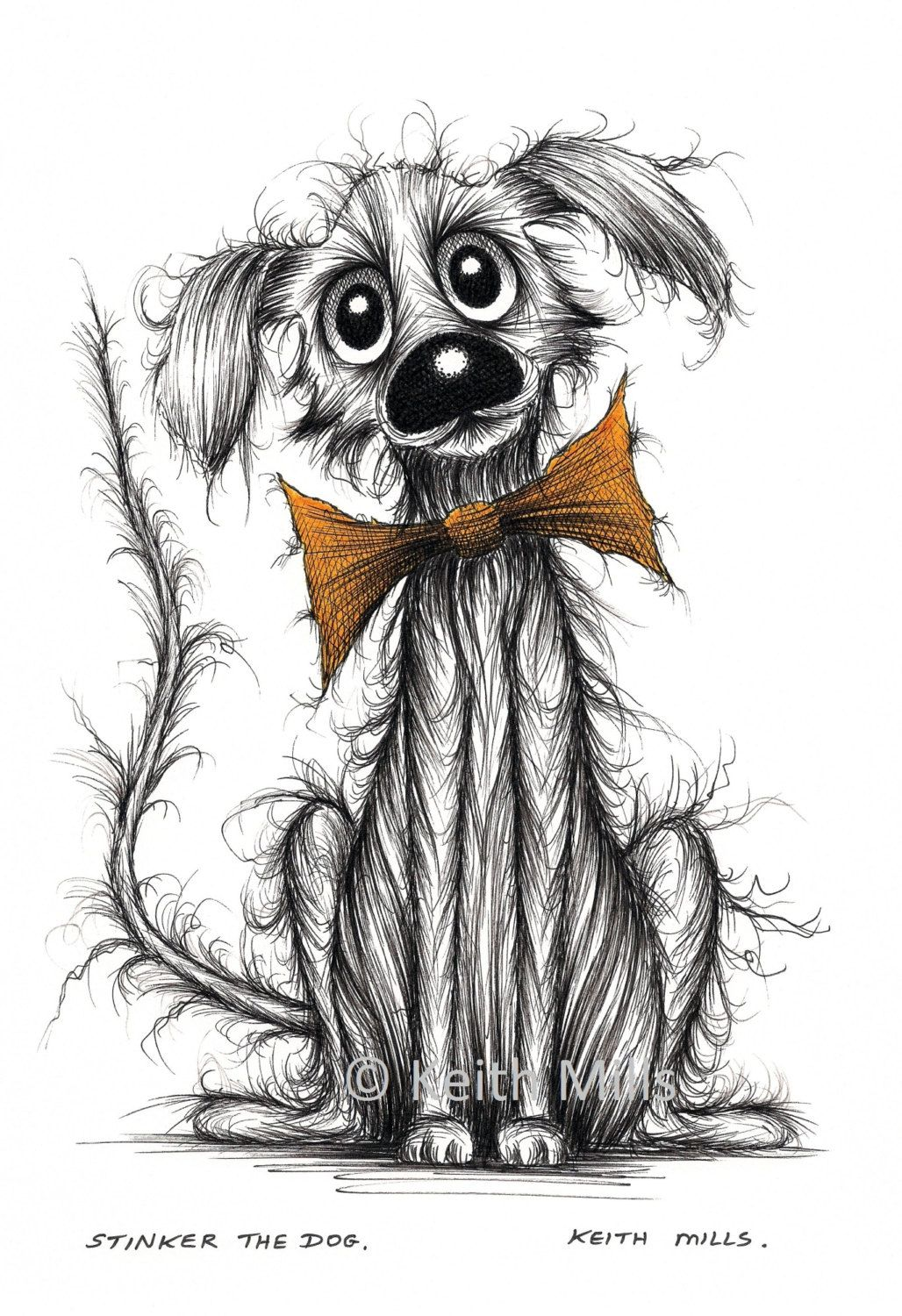 Stinker the dog Print download Scruffy smelly pet doggie