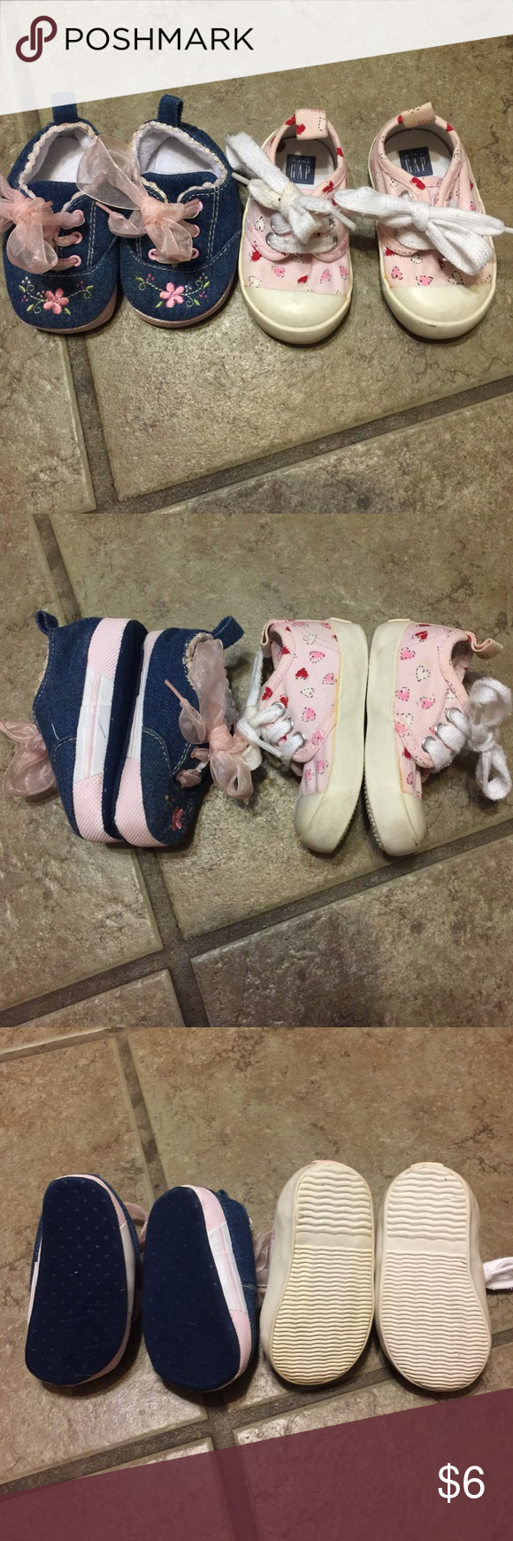 GIRLS INFANT SHOES Denim size 2 soft infant shoes with embroidered flowers at toes.  Size 3 firm bottom Baby Gap heart shoes.  Normal wear.  Smoke free home Shoes Sneakers