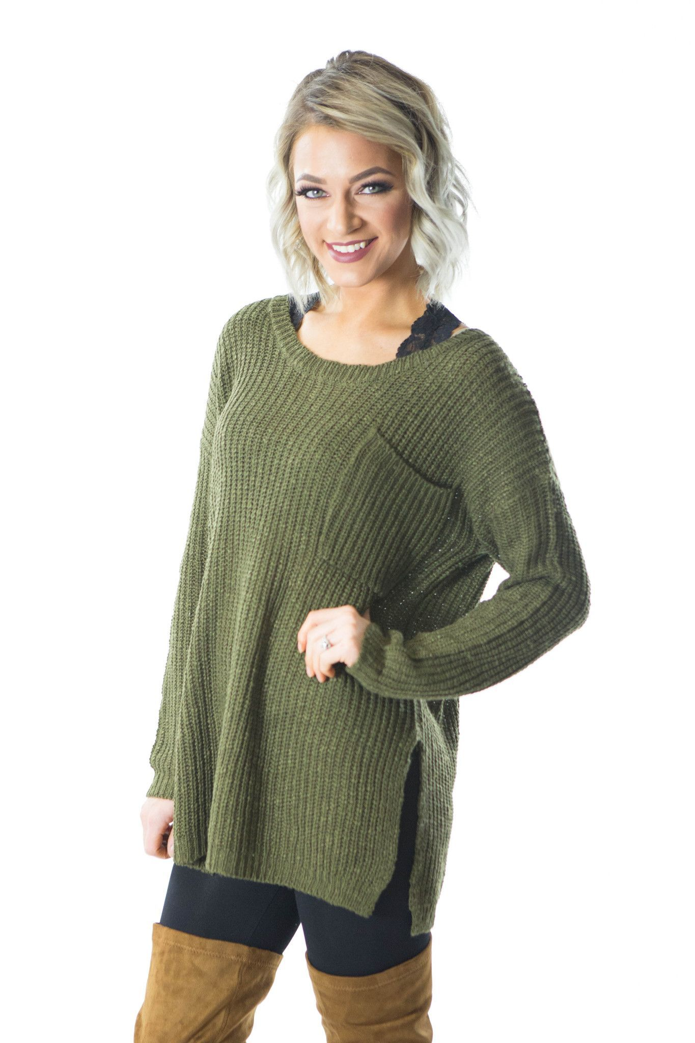 Trendy Knits- Olive Sweater