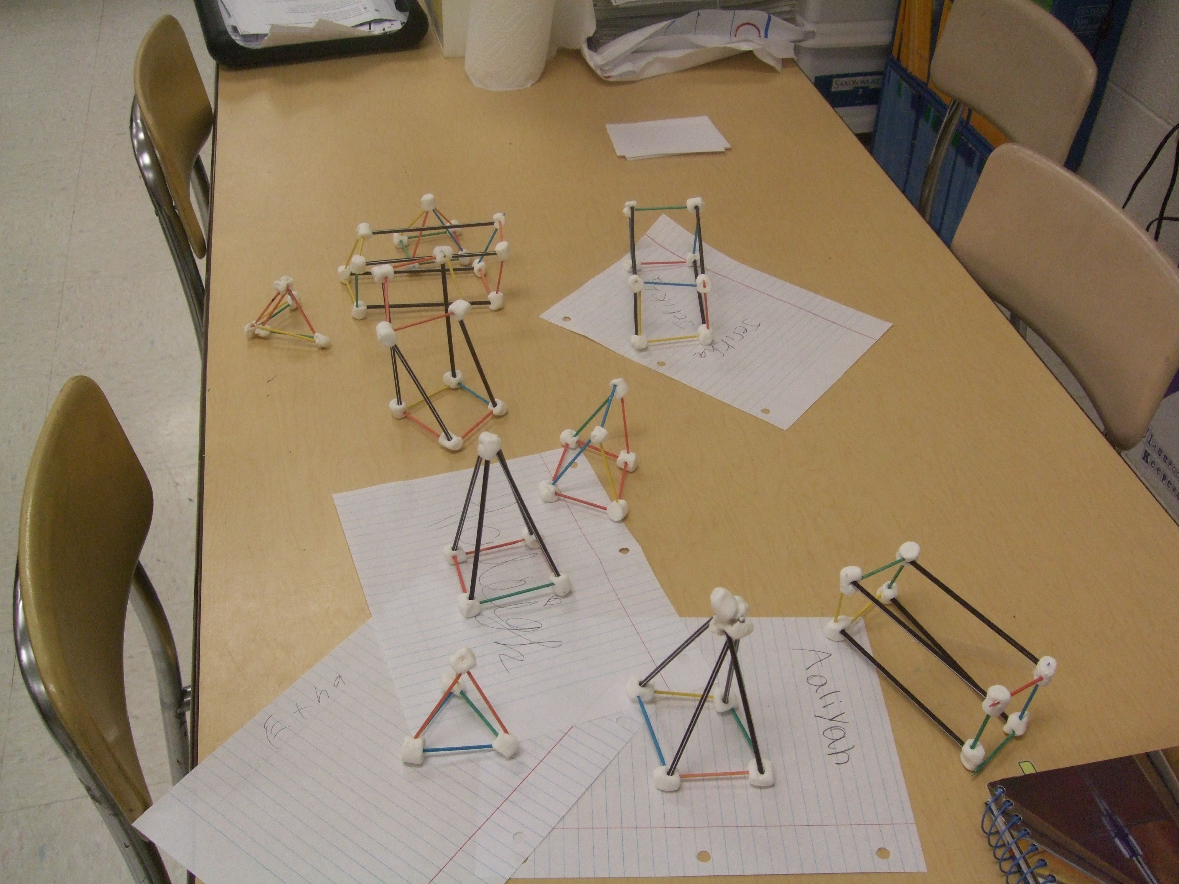 3 D Shapes Made With Coffee Stirrers Toothpicks And